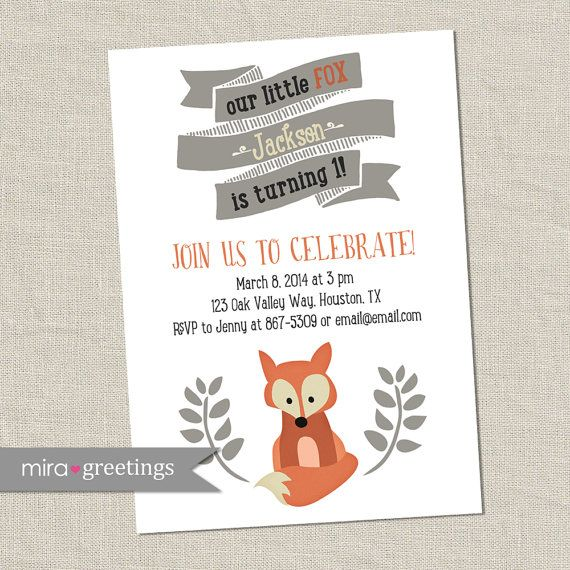Fox vintage invitaciones de fiesta de cumpleaños por miragreetings