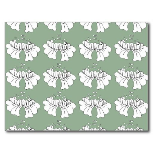 bubble flower white on green postcard