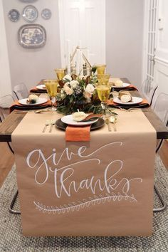 thanksgiving table setting inspiration with calligraphy and magnolia leaves #tha…