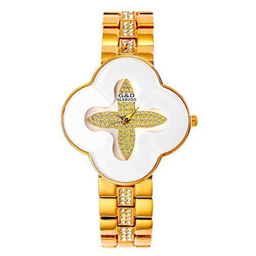 harwish Damen Stahl Armband Quarz mit Diamant Zifferblatt kreuzförmige Kleid Armbanduhren Weiß - http://uhr.haus/harwish/harwish-damen-stahl-armband-quarz-mit-diamant-2