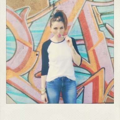 Baseball 3/4 length sleeve tee, 80's fashion, polaroid photography, lollipop photo, scrunchie,