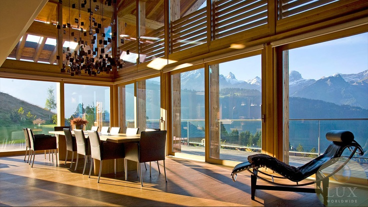 Chalet Solais dining area: Dining Area, Chalets Solai, Luxury Interiors Design, Design Projects, Skiing Chalets, Callend Howorth, Norman Foster, Cloud, Interiors Decor