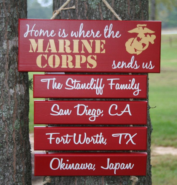 "THREE Duty Stations ""Home is Where the CORPS sends us"" Hand Painted Military sign decor. $43.00, via Etsy."