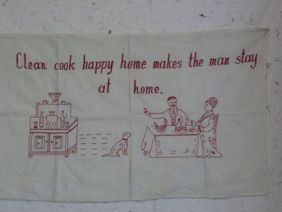 Redwork Happy Home Linen Towel with Adorable by SnowyOwlVintage, $20.00