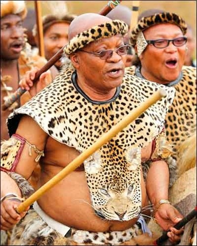 South African President Jacob Zuma takes part in a dance during his traditional wedding to Tobeka Madiba, his fifth wife, at the village of Nkandla in northern KwaZulu-Natal. The ceremony took place at Zuma's traditional home in Nkandla, KwaZulu-Natal province, where the 68-year-old president, in Zulu tribal dress, married Tobeka Madiba, 37, according to clan custom. Multiple marriages are allowed in South Africa and form part of Zulu culture but the practice has drawn criticism from…