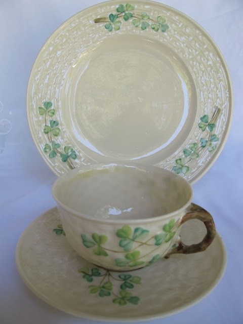 "Vintage ""Shamrock"" china by Belleek Pottery, Ireland. This pattern was introduced in 1946."
