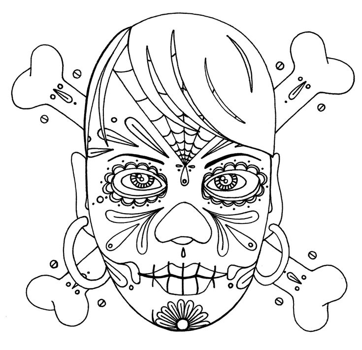 sugar skull coloring pages to print free click the pic to enlarge right click save