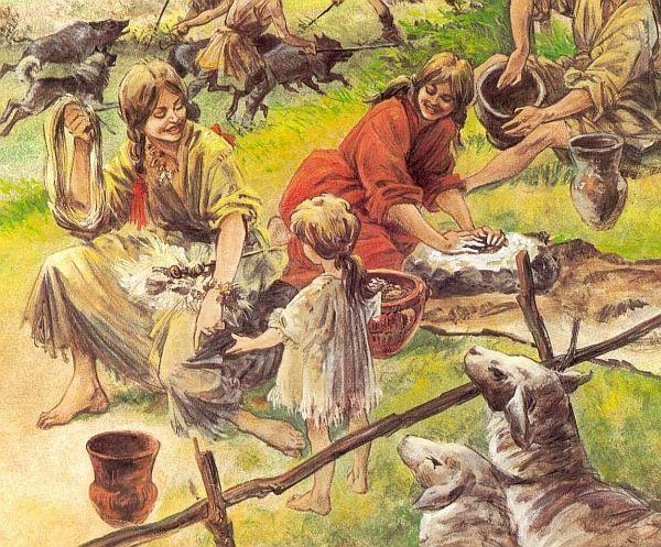 Op deze afbeelding zie je een aantal taken van de vrouwen in de tijd van de boeren. Zij moesten het lichte werk doen terwijl de mannen het zware werk deden.