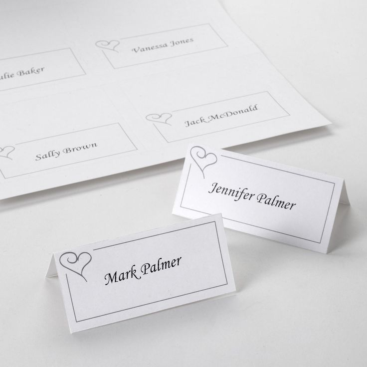 Contemporary Heart -Place Cards - Weddings
