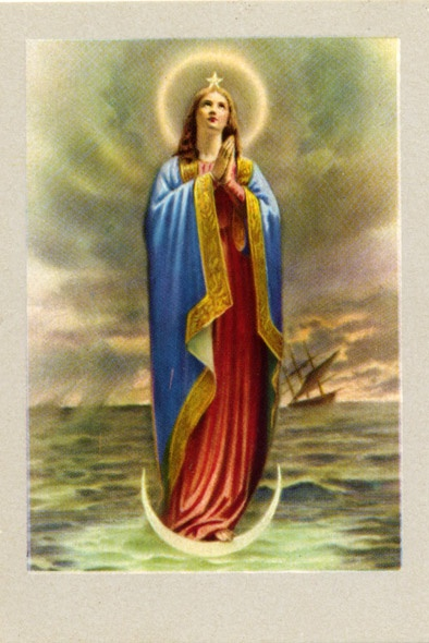 Mary as Maria Stella Maris (star of the sea). She is standing on a moonsickle, a symbol for chastity. On her head she carry a star. Stars, especially the evening en morningstars are an important navigation points for sailors. In the Litany of Loreto Mary is called (next to a lot of other nice things) the morning star.