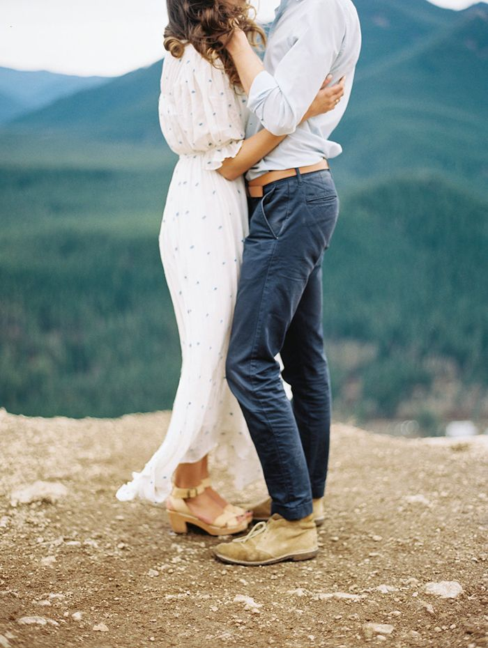 The Best Kind of Love Story via oncewed.com #wedding #engagement #bride #groom #outdoors #mountains #seattle #lovestory