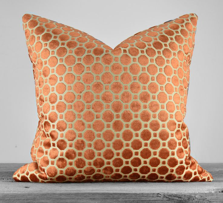 Robert Allen Velvet Geo Copper Pillow Cover - SAME Fabric on BOTH SIDES - Pick Your Size by KATHLEENANNHOME on Etsy https://www.etsy.com/listing/195751110/robert-allen-velvet-geo-copper-pillow