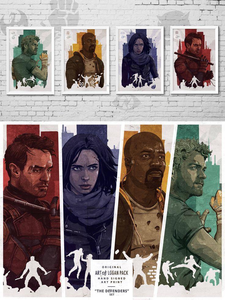 MARVEL'S THE DEFENDERS - Daredevil - Jessica Jones - Luke Cage - Iron Fist - Netflix - Comic Book Super Heroes - T.V. show - Art Poster Set by ARTofLOGANPACK on Etsy https://www.etsy.com/uk/listing/552055393/marvels-the-defenders-daredevil-jessica