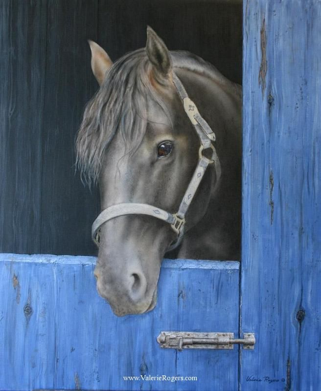 """""""All Canadian - Waiting Beauty"""" Acrylic on Canvas Black Beauty Horse Painting -Western Equine Art Some of my favorite things, horses and cats. - On the Ranch by Valerie Rogers"""