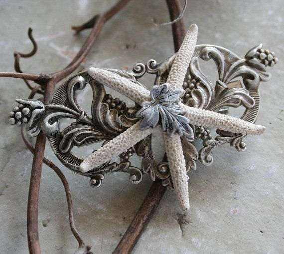 VICTORIAN MERMAID Victorian fantasy beach bride hair clip for wedding or formal in aged silver detail with starfish, gift boxed. $27.00, via Etsy.