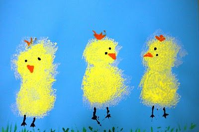 Spring chicks- sponges for body, wooden end of brush for eyes/legs/hair/grass, small triangle sponge for nose on light blue paper