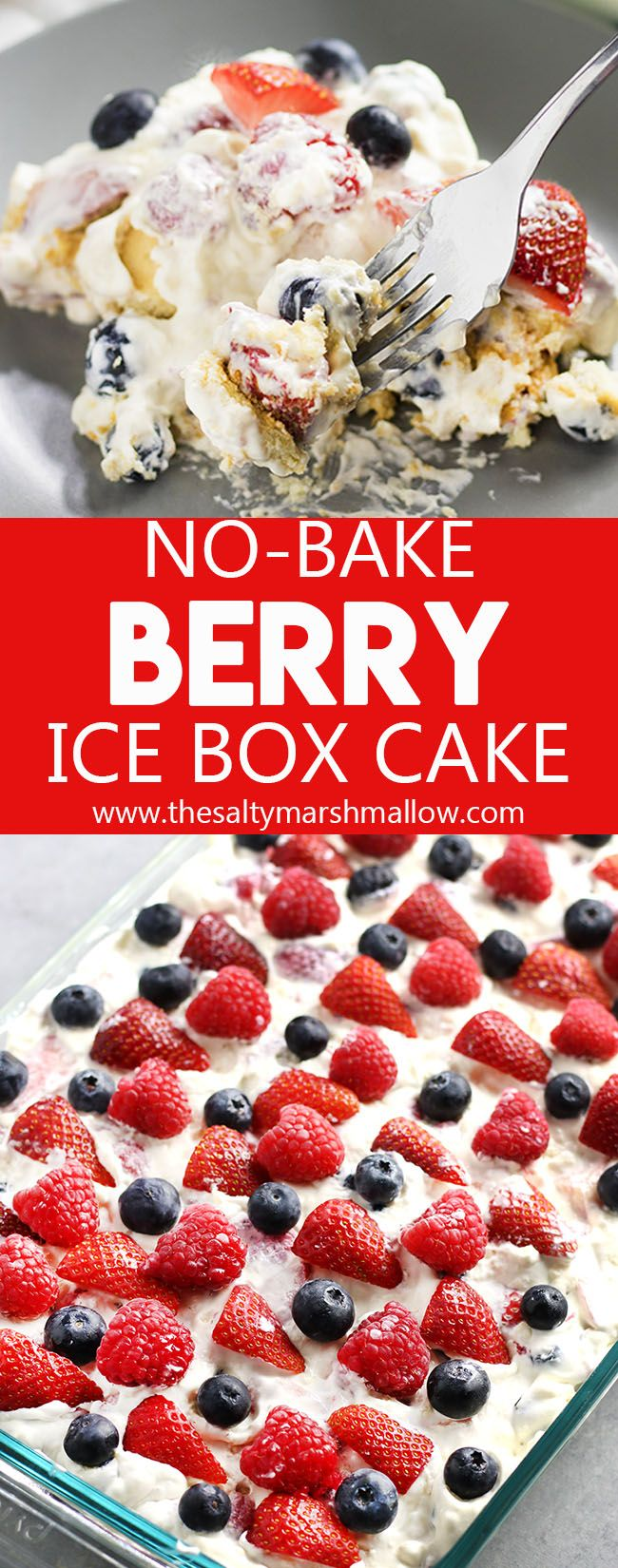 No Bake Berry Ice Box Cake:  This icebox cake is a no bake, cool and creamy summer dessert that's an old fashioned favorite!  Easy to make and full of strawberries, blueberries, and raspberries with creamy pudding layers and graham crackers OR nilla wafers! This dessert makes enough to feed a crowd for Memorial Day or Fourth of July parties.