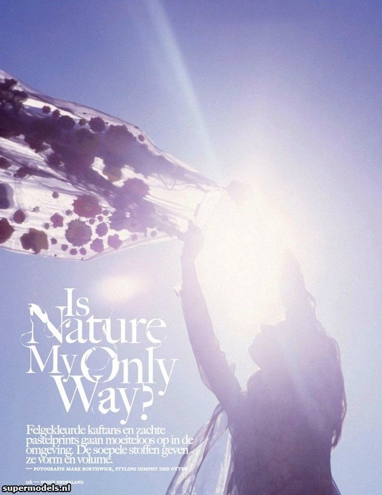 Jacquelyn Jablonski in 'Is Nature My Only Way?' - Photographed by Mark Borthwick (Vogue Netherlands July/August 2012)    Complete shoot after the click...