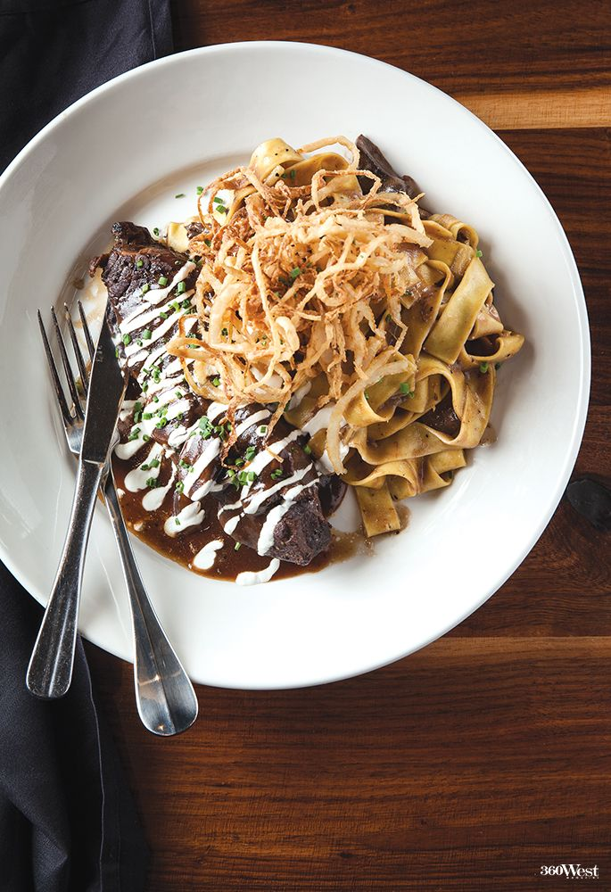 Del Frisco's Grille shares their recipe for Braised Beef Short-Rib Stroganoff on page 113, 360 West Magazine, March 2016 #food #recipes #heartyrecipes #shortrib #stroganoff