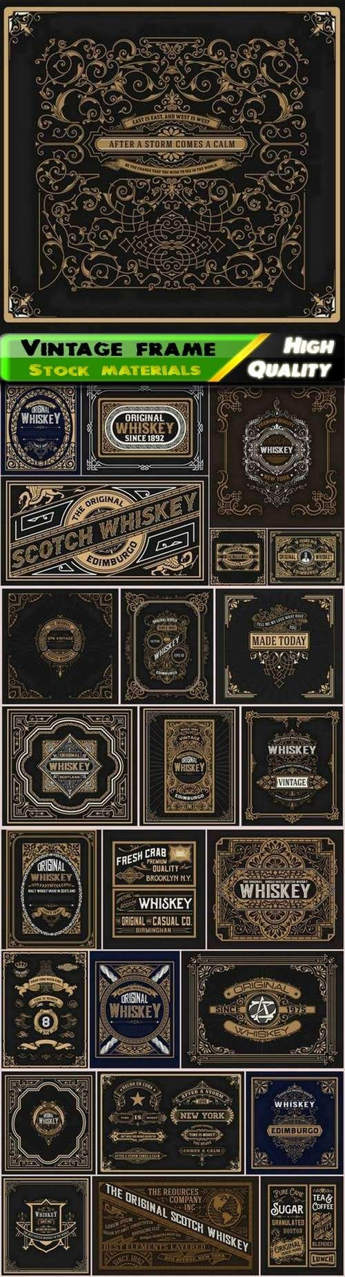 Vintage frame for menu and old whiskey label in hipster style - 25 Eps