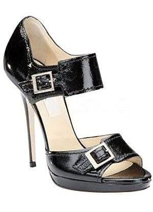 Black 4 3/4 High Heel 4/5 Platform Open Toe Buckles Womens Dress Shoes - Sandals - Shoes
