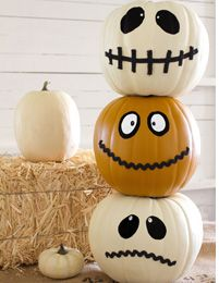 "No carving?! I love it! Ways to ""save"" your pumpkins and have them move from Halloween to Thanksgiving. Just remove the thinks you stuck on. Use felt & ribbons"