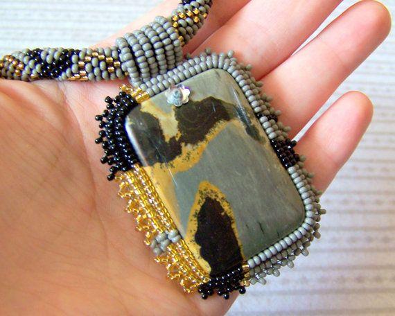Grey Dream  Bead Embroidery Necklace with Chohua Jasper  by lutita, $95.00