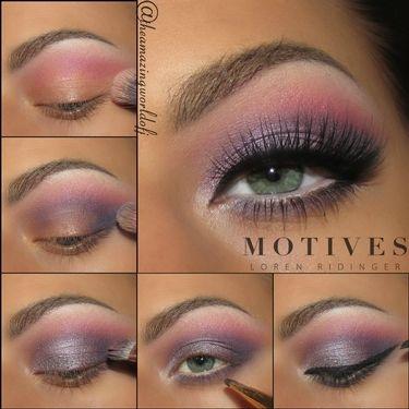 Candy Girl, pink, blue, eye shadow, purple, pink, lipstick, black eye liner, motives cosmetics