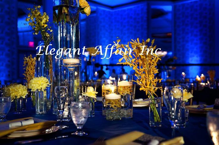 blue and yellow table setting