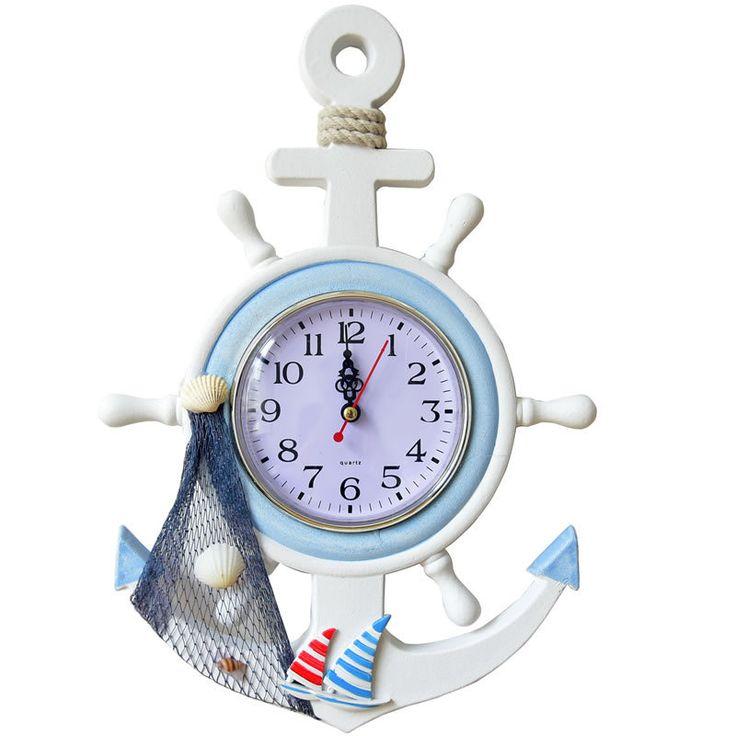 Mediterranean Helmsman Wall Clock Creative Digital Quartz Clocks Living Room Home Nautical Decor