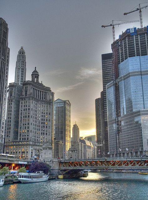 Chicago River Sunset, Chicago, Illinois