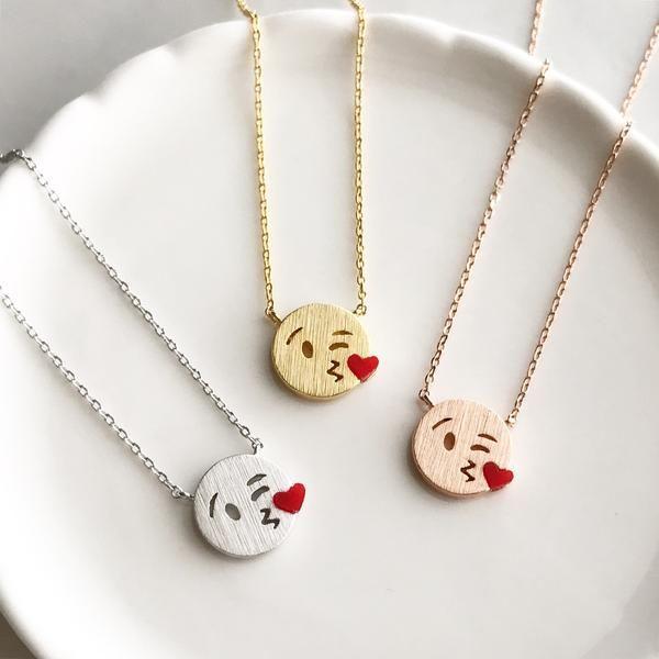 Kissy emoji necklace