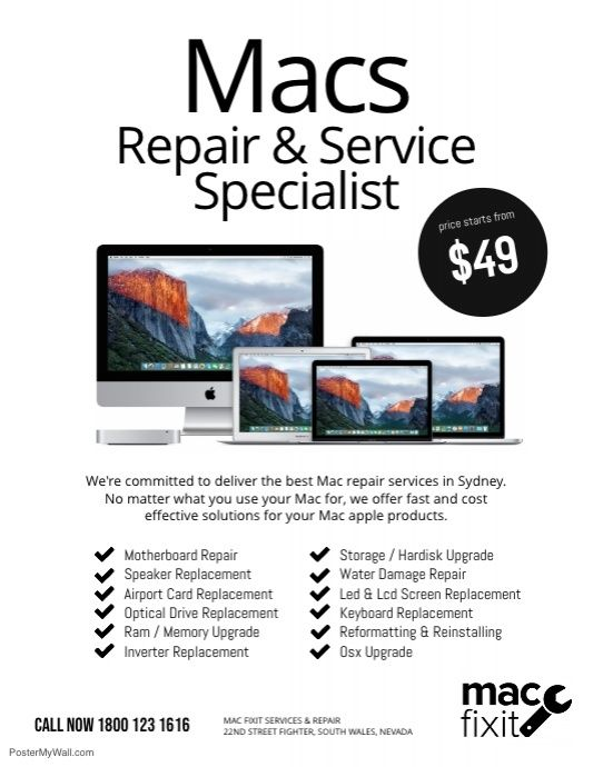 mac repair service specialist flyer template professional