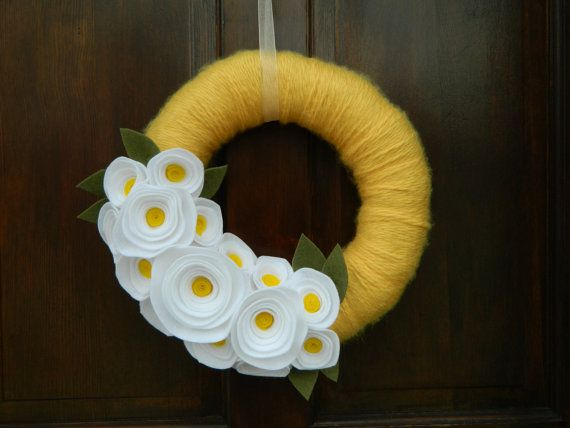 Summer Wreath - Spring Wreath - Yellow Yarn Wrapped Wreath with Yellow and White Flowers and Olive Leaves - 14 inch on Etsy, $40.00