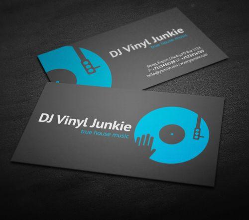 Vinyl DJ Business Card #businesscards #music #psdtemplates #djbusinesscards