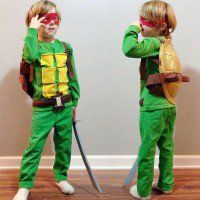 boys Ninja Turtle costume, see more at https://diyprojects.com/diy-ninja-turtle-costume-ideas