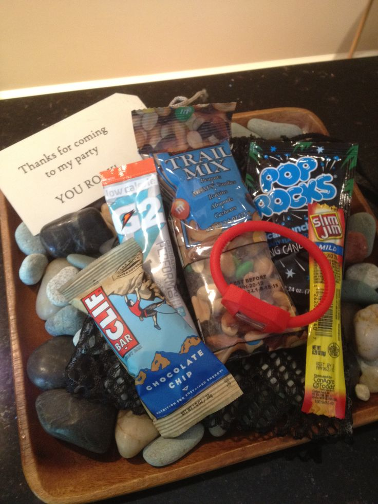 Contents of rock climbing party goodie bags.