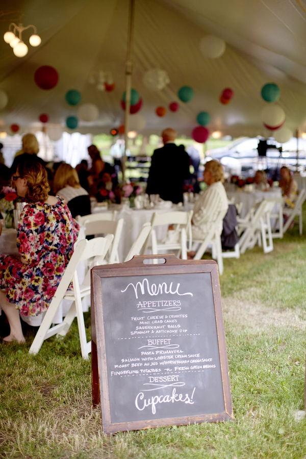 blackboard menu + marquee wedding