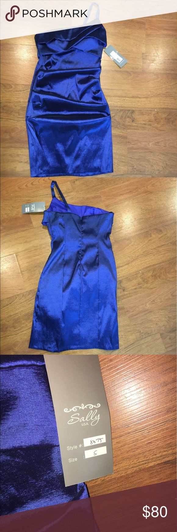 Sally one shoulder Royal Blue formal dress Brand new with tags, never worn. Great for formal events. Size small Sally USA Dresses