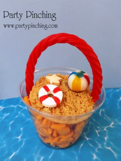 summer snack ideas, goldfish crackers, cute summer food, beach theme party ideas