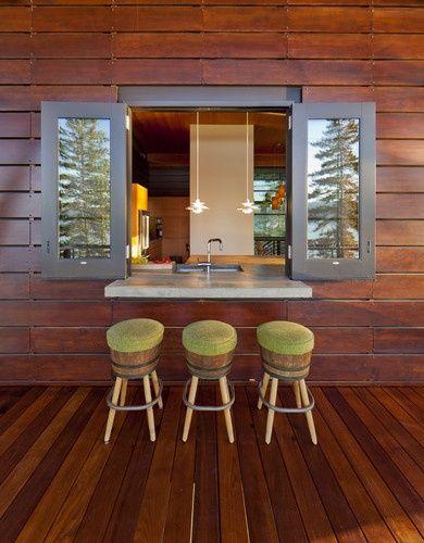 cabin decorating ideas | Great idea for indoor/ outdoor patio breakfast | Cabin Decor and Ideas