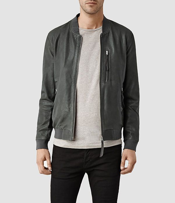 Mens Blythe Leather Bomber Jacket (Slate Grey) | ALLSAINTS.com ...