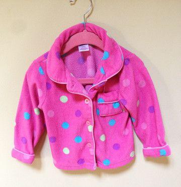 Fleece polka dot pink pyjama / Pyjama en polar rose avec picots 18M - 24M