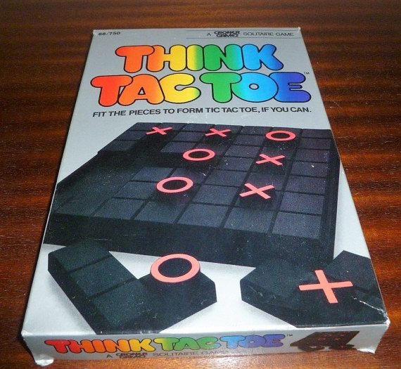 $10     Vintage 1984 'Think Tac Toe' - A Croner Games Solitaire Game / Retro Travel Game / Fit the Pieces to Form Tic Tac Toe if You Can! by V1NTA6EJO