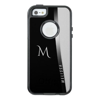 Elegant black white silver name and monogram OtterBox iPhone 5/5s/SE case - chic design idea diy elegant beautiful stylish modern exclusive trendy