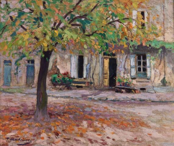 paul madeline 1863 1920 arbre en automne devant une vieille maison huile european art. Black Bedroom Furniture Sets. Home Design Ideas
