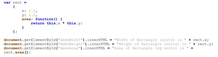 External JavaScript Code for Defining a Rectangle Object with Function.  Text Editor - Notepad++.