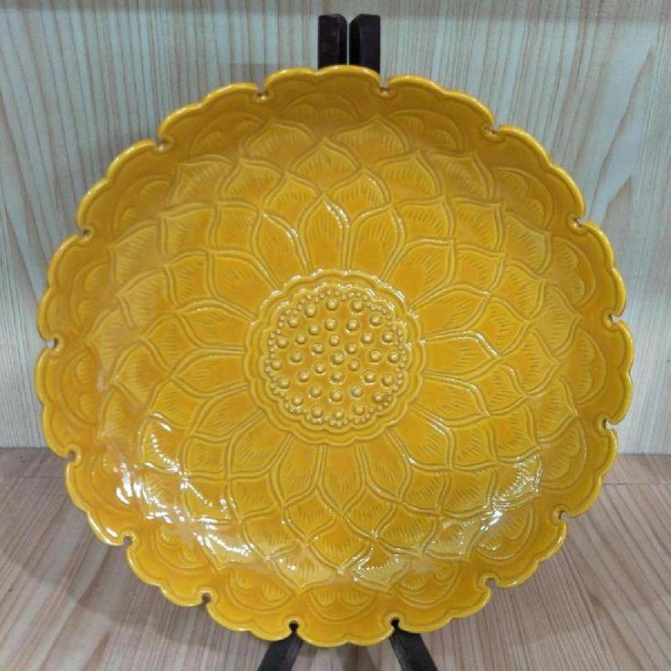 Chinese Ming Dynasty Hongzhi Time Yellow Glaze Porcelain Plate.