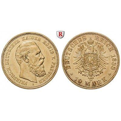 Deutsches Kaiserreich, Preussen, Friedrich III., 10 Mark 1888, A, ss-vz/vz, J. 247: Friedrich III. 1888. 10 Mark 1888 A. J. 247;… #coins