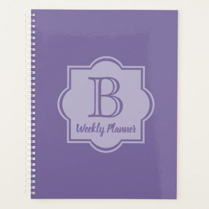 Trendy Ultra Violet Simple Logo Purple Monogram Planner - simple clear clean design style unique diy